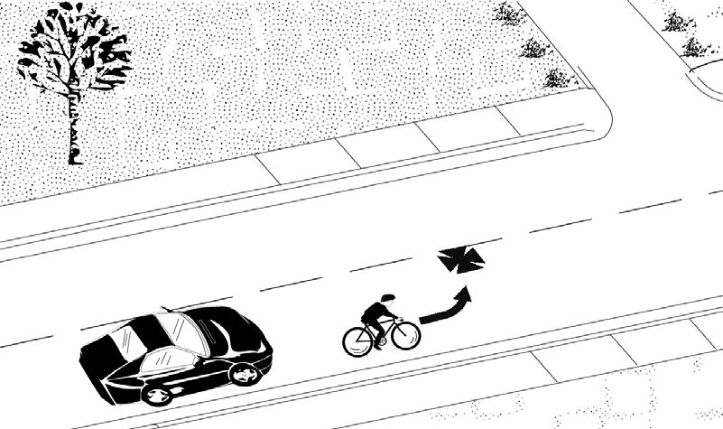 Proper way to make a left turn on a bicycle.