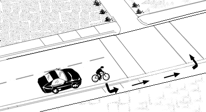 Proper way for a bicyclist to use a crosswalk.