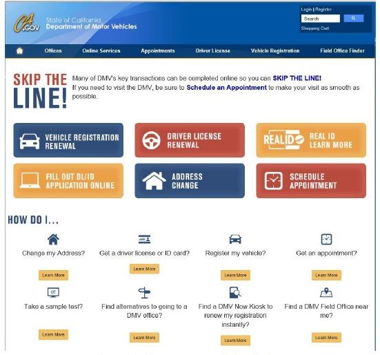 Image of DMV website homepage