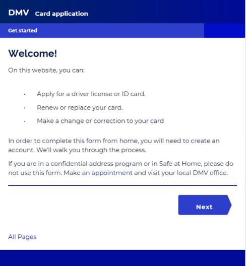 Image of DMV online driver's license application