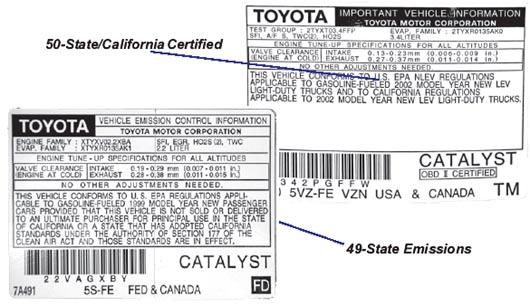 California emissions label.